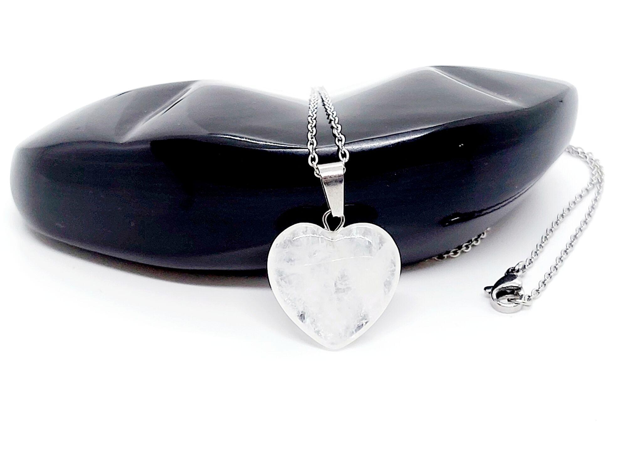 Hegyikristály szív nemesacél nyaklánccal