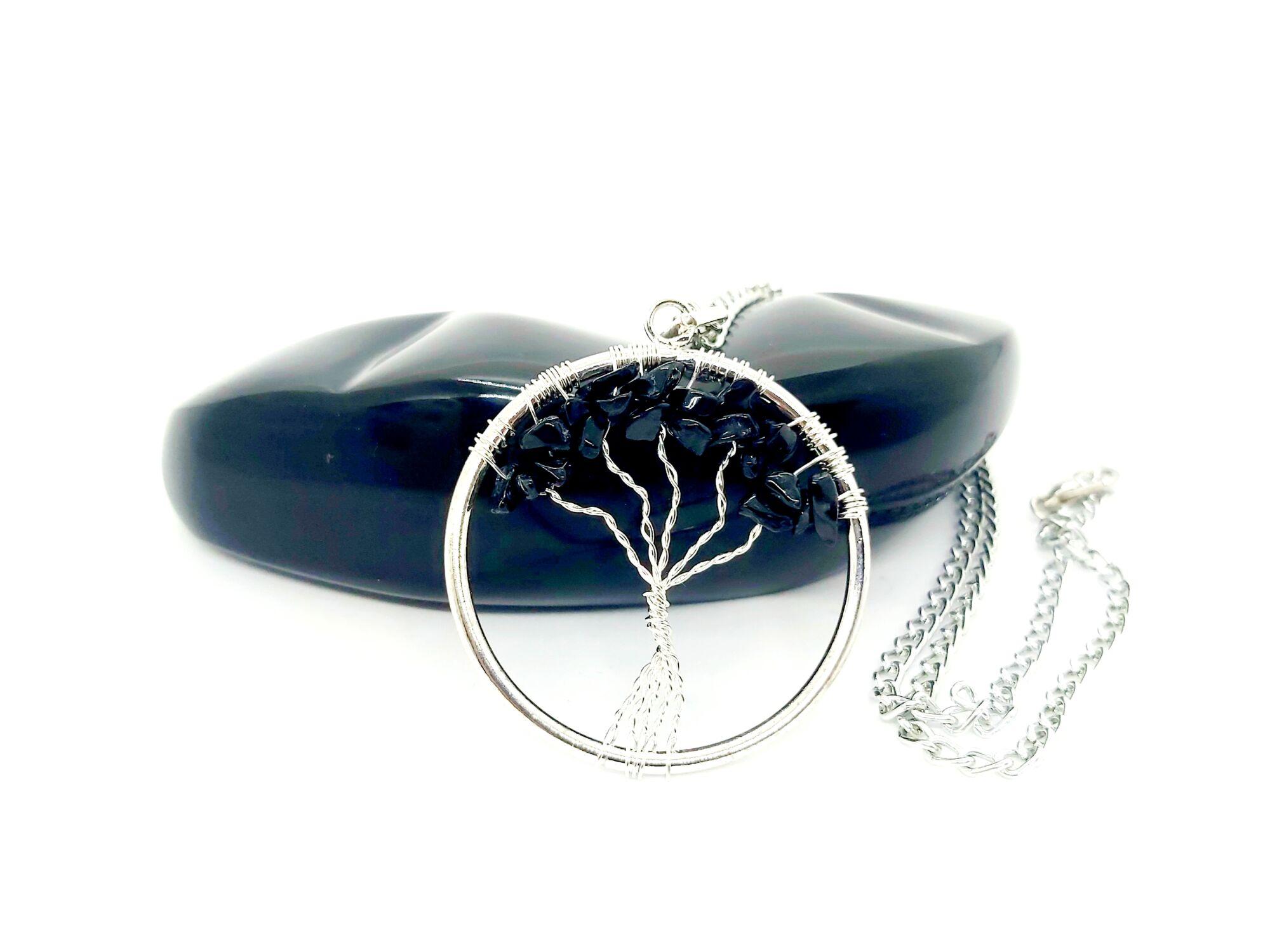 Életfa fekete turmalin nyaklánc