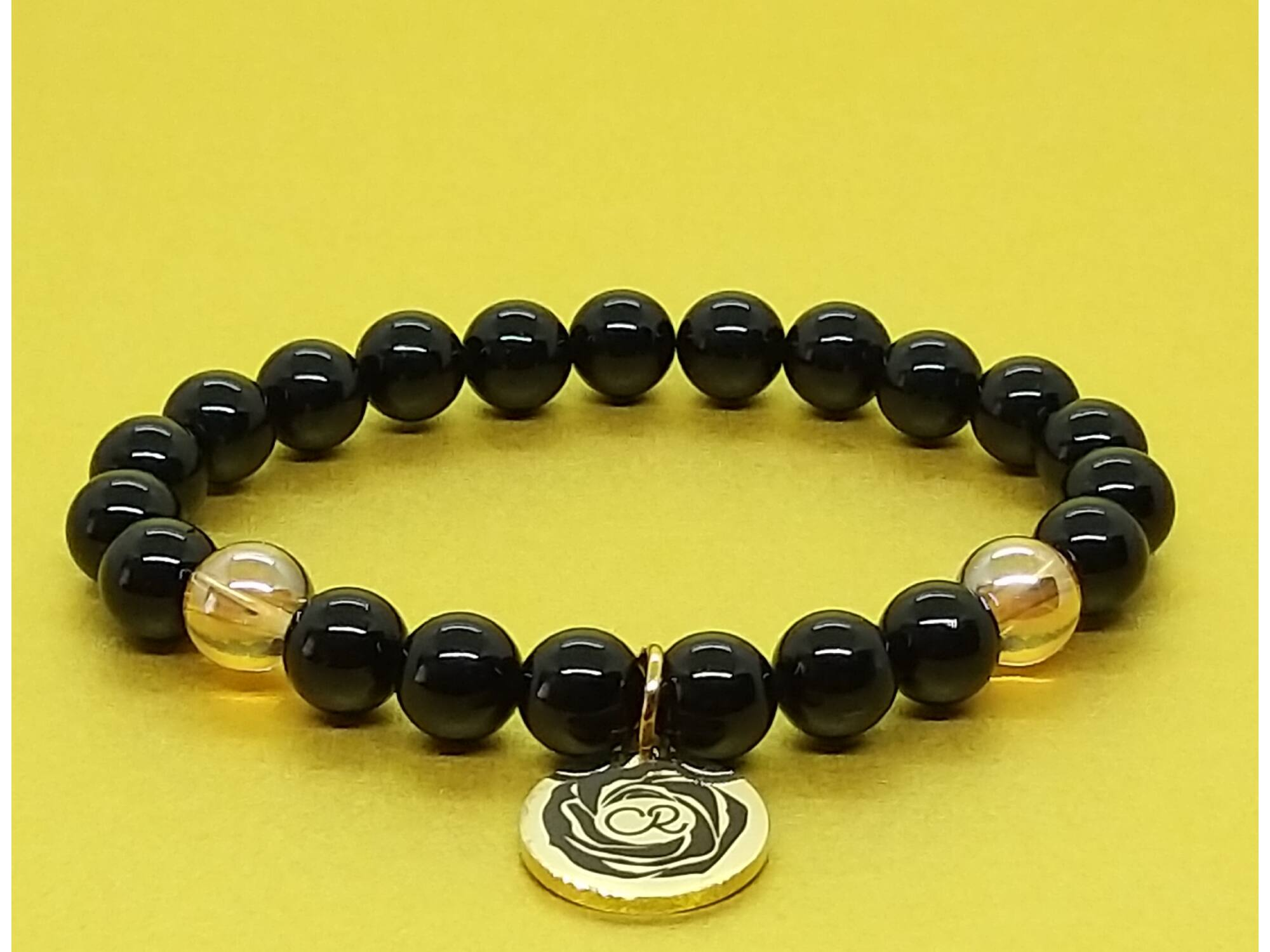 Fekete turmalin arany aurakvarc karkötő